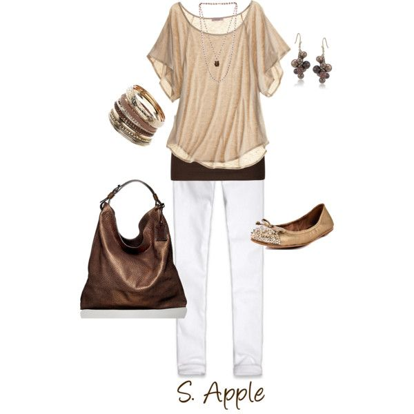 I love the dark brown tank under the lighter brown shirt. The dark brown handbag is fab with this outfit. So summery and just flows:)