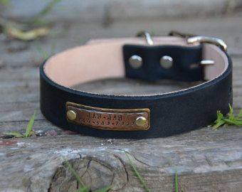 Personalized Rustic Black Leather Dog Collar Traditional Handmade Boho Southwestern Country Western Oil-Black Leather Dog Collar