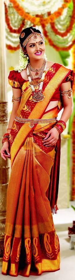 South Indian bride. Temple jewelry.Jhumkis.Red silk kanchipuram sari.Braid with fresh flowers. Tamil bride. Telugu bride. Kannada bride. Hindu bride. Malayalee bride.Kerala bride.South Indian wedding.