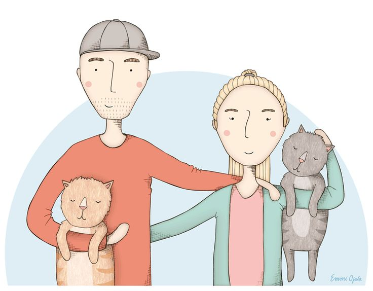 Illustrated family portrait by Emmi Ojala  http://linesidrew.emmiojala.eu