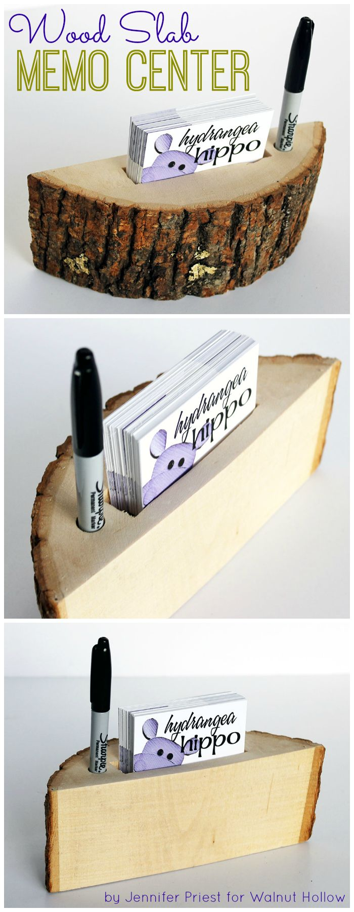 Wood Slab Business Card and Pen Holder by Jennifer Priest of hydrangeahippo