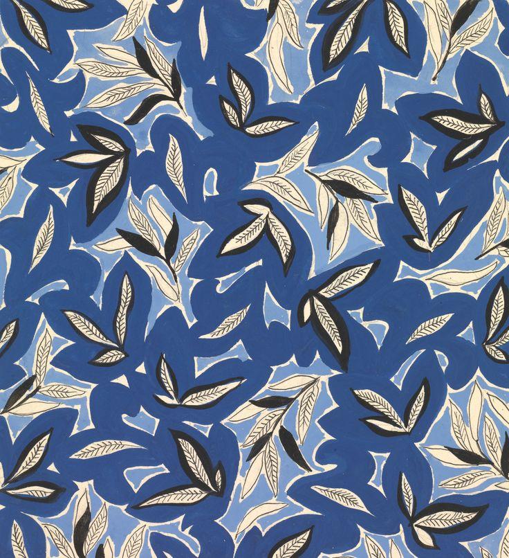 Leaves | An exclusive reproduction of a Parisian textile design from Atelier Zina de Plagny, 1940's-1950's