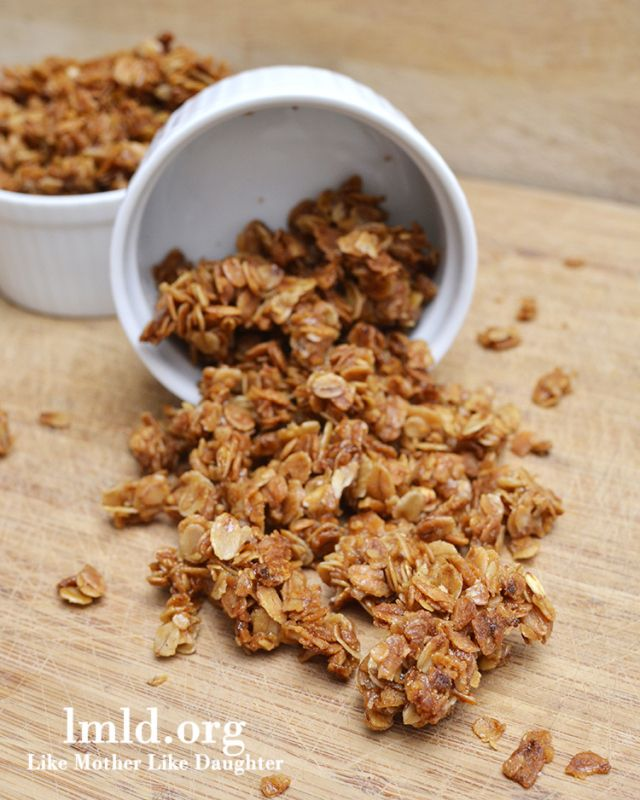 simple granola-- I did use a dab less sugar and honey, and baked it at a little higher temp for a little less time, and added raisins at the end.  so good. so easy!