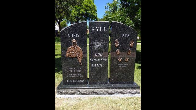 A headstone has been installed at the gravesite of Chris Kyle, the Navy SEAL marksman who was killed in 2013.