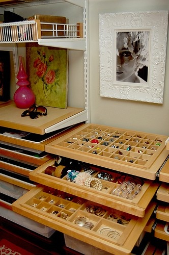 Organized jewelry and accessories space in Kelley Moore's Seattle dressing room.