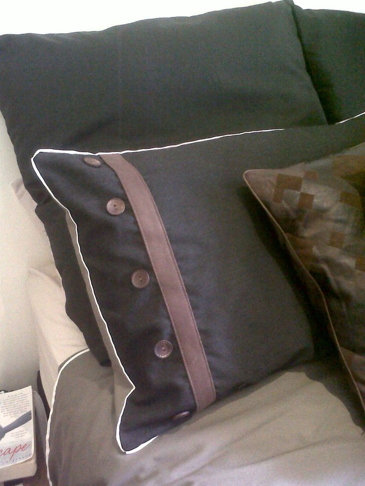 Sewing - Original bedding design. Black & Mushroom cotton, cream piping, brown suede, wooden buttons