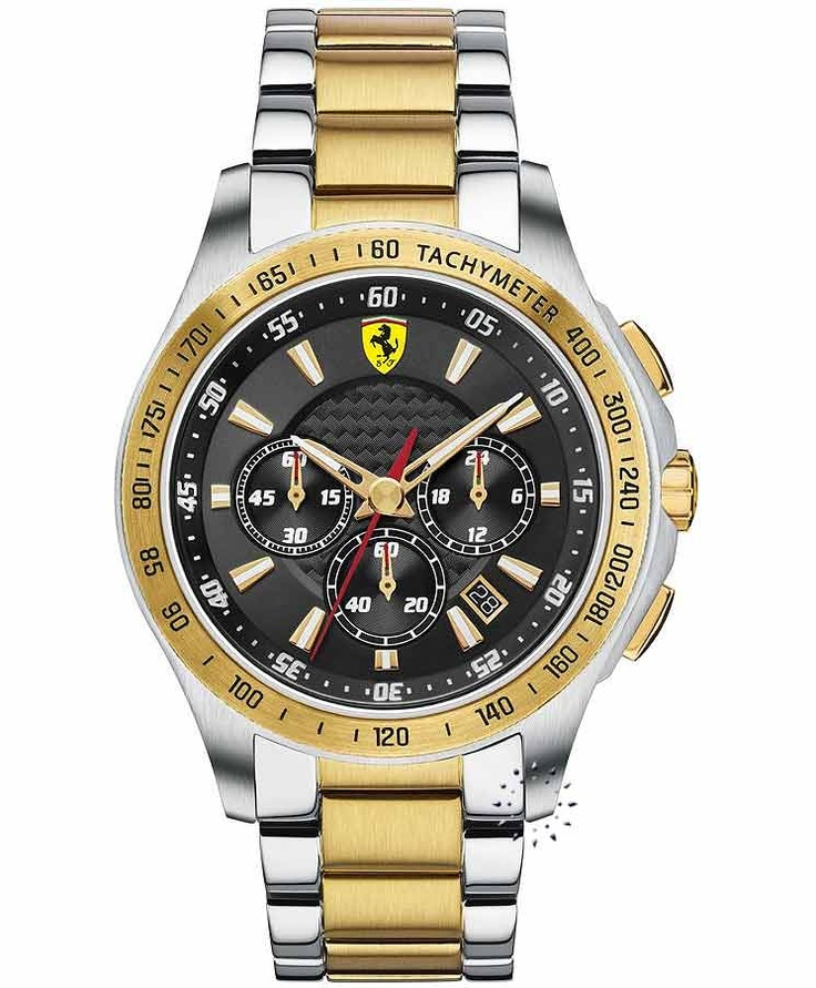 FERRARI Scuderia Chronograph Two Tone Stainless Steel, 520€ http://www.oroloi.gr/product_info.php?products_id=33406