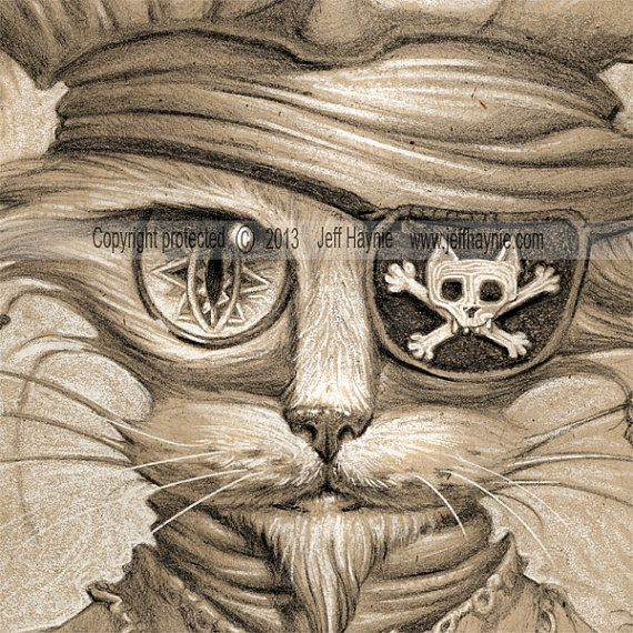 Pirate Cat // 11 X 14 Print // Long John Silver от JeffHaynieArt