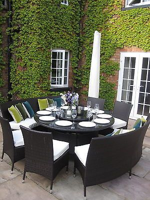 Large Round Dining Table Benches and Chairs Rattan Garden Furniture Set Seats 10 | eBay