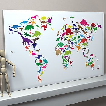 Multi-coloured on White Background Dinosaur World Map large canvas £63