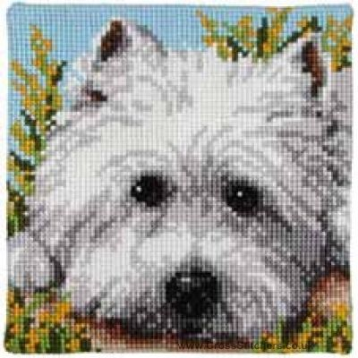 westie embroidery design | Westie Cushion Front Cross Stitch Kit by Vervaco.