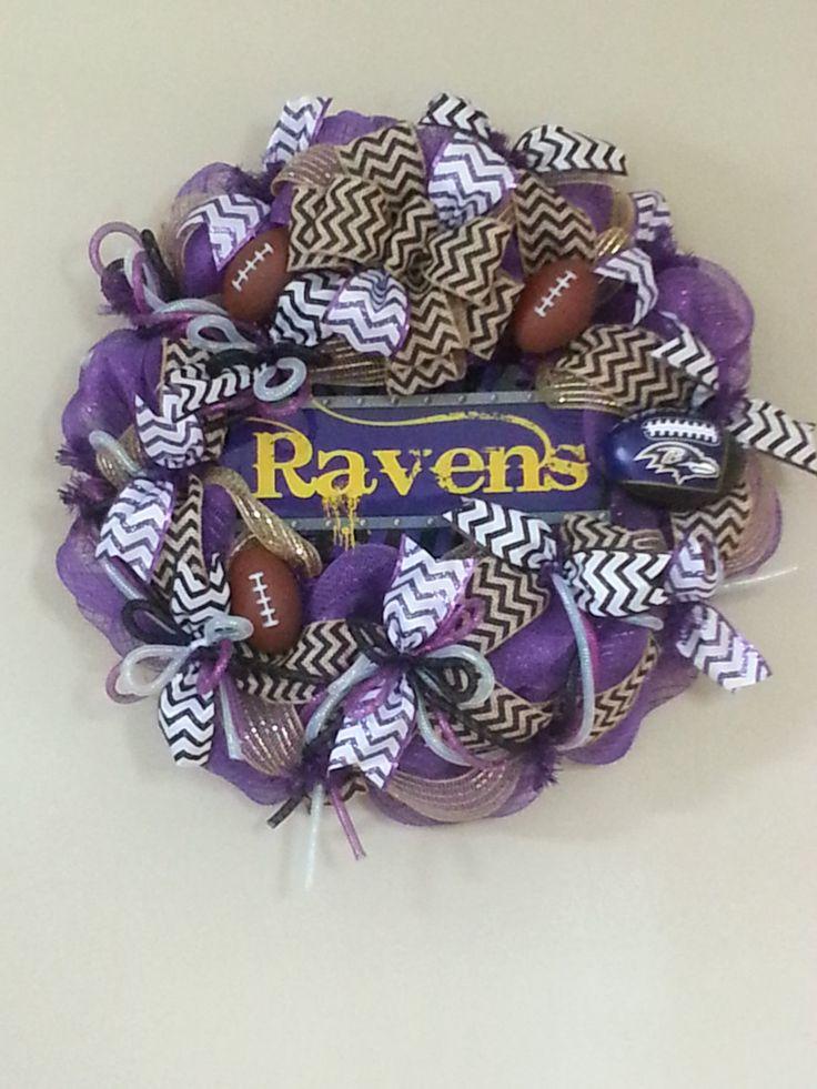 Deco Mesh Baltimore Raven's Football by tinasdecomeshwreaths, $85.00