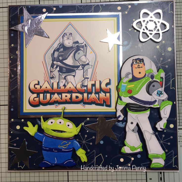 Disney-Pixar Buzz Lightyear and Alien die cut coloured with Copics card made using paper kit