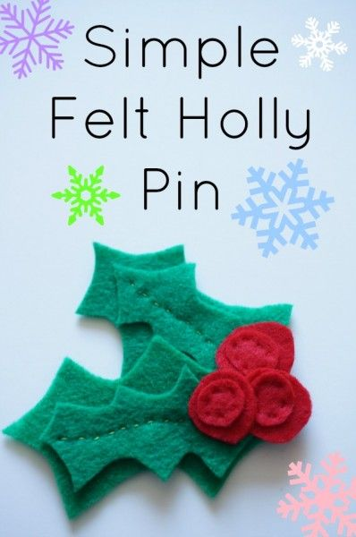 Simple Felt Holly Pin - This felt holly pin make a lovely addition to any outfit during the holidays. Pin it to your jacket, scarf or your favourite hat. The complete step by step instructions for making a festive felt holly pin - including photos. Make one for yourself or as a gift for someone special. | Christmas Craft | Handmade Christmas |