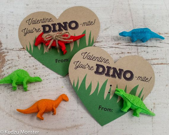 Printable Dinosaur Valentines Hearts for small dino toy or erasers Instant Download simple file by KudzuMonster