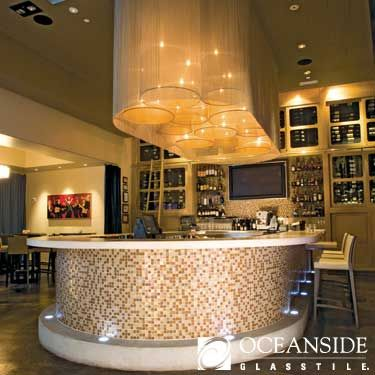 wrap oceanside tessera glass mosaic around the bar for a glamorous look - Mosaic Tile Restaurant Ideas