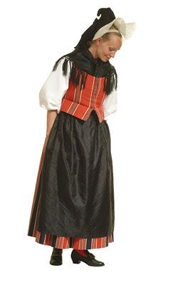 Traditional Finnish folk costume, a woman´s dress representing the region of Pornainen