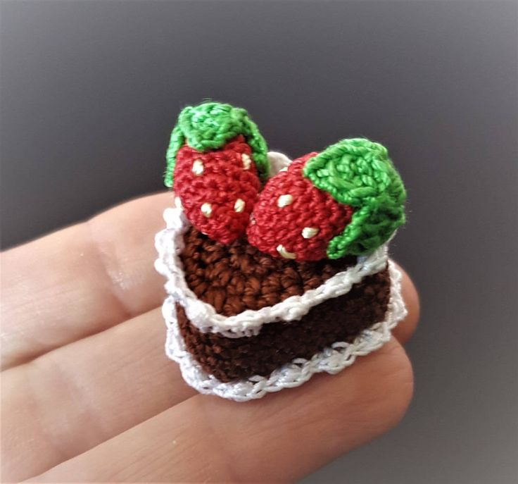 Mini crochet heart cake Pretend play food Pretend kitchen food Fake cake Mini chocolate cake Fake food Strawberry cake Childrens play cake by Crochetloveland on Etsy
