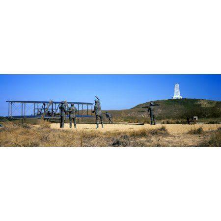 Wright Flyer sculpture at Wright Brothers National Memorial Kill Devil Hills Kitty Hawk Outer Banks North Carolina USA Canvas Art - Panoramic Images (36 x 12)