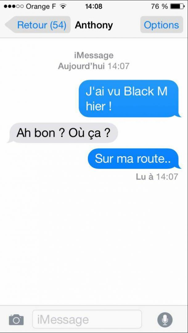 blague sms drole black m : sur ma route
