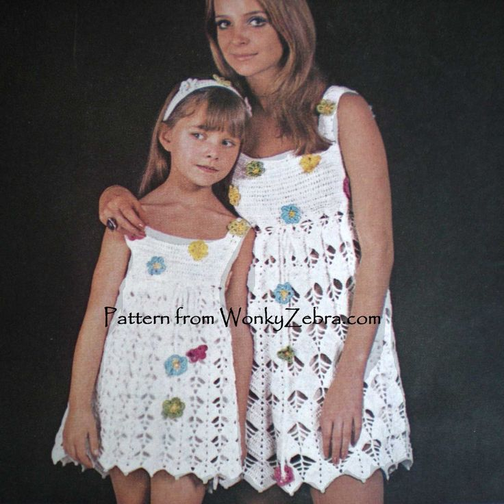 floral crochet festival dresses from vintage crochet pattern WZ002. WonkyZebra.com on Etsy