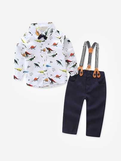Toddler Boys Dinosaur Print Shirt With Overalls -SheIn(Sheinside ... c8c8073ae8f4