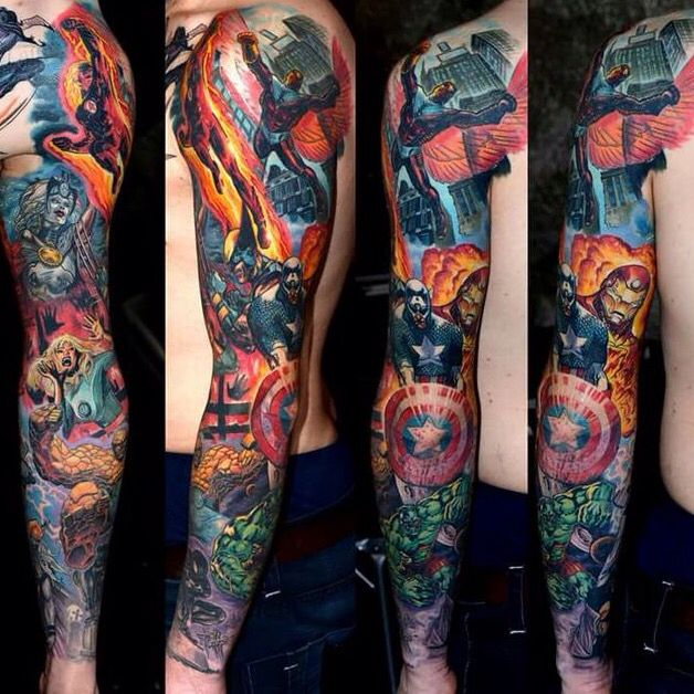 25 marvel tattoo pictures to pin on pinterest tattooskid for Marvel sleeve tattoo black and white