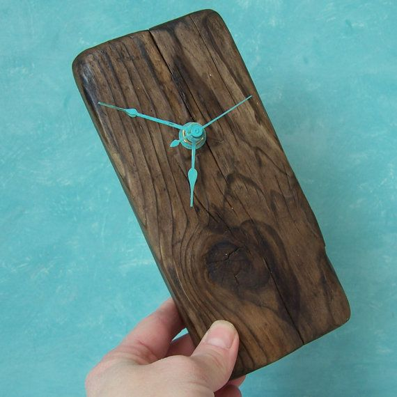 RESERVED for Anastasia Driftwood Clock, Turquoise Desk Clock, Desk Clock, Beach Decor Clock, Heart Clock