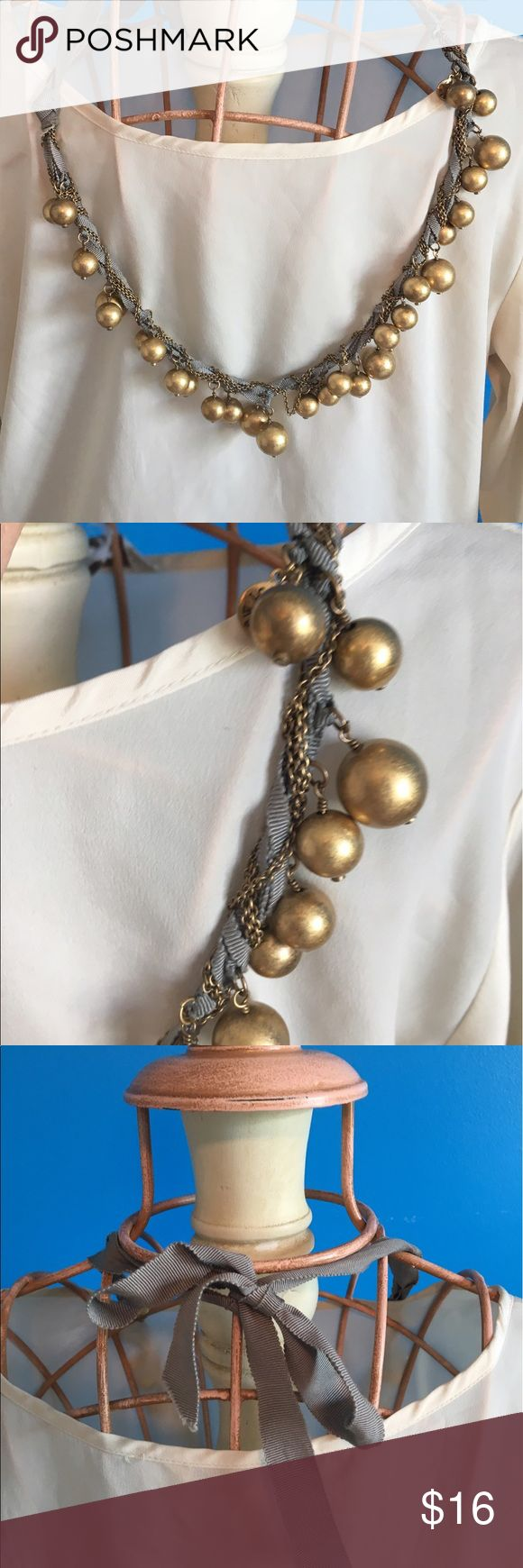 Wonderful adjustable length J.Crew necklace! You can wear it short or long as it ties with a ribbon at your neck in the back! Wonderfully versatile piece! j crew Jewelry Necklaces