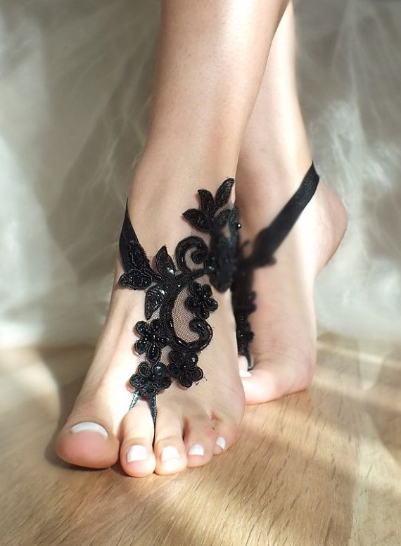 bridal anklet black Beach wedding barefoot by WEDDINGGloves