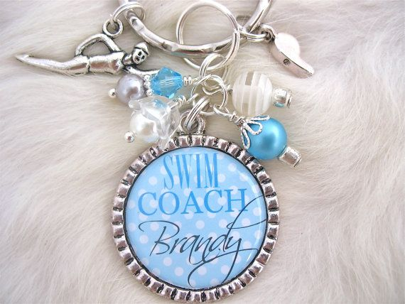 Personalized Swim Team Necklace Swim Mom Coach TEACHER GIFT Personalized Bottle cap pendant Keychain, Swimmer, Swimming Swim