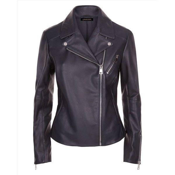 Jaeger Jaeger Leather Zip Biker Jacket (£299) ❤ liked on Polyvore featuring outerwear, jackets, real leather jackets, blue moto jacket, navy blue leather jacket, motorcycle jacket and moto jacket