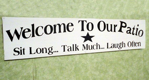 Welcome to our Patio wood sign hand painted by kpdreams on Etsy, $18.00