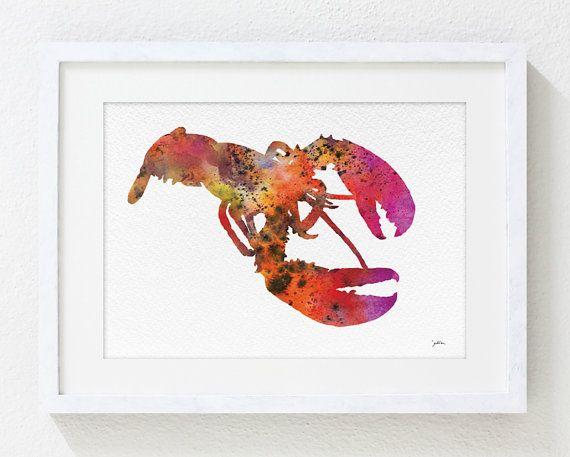 Langosta roja acuarela arte pintura  5 x 7 Archival por ElfShoppe, $15.00