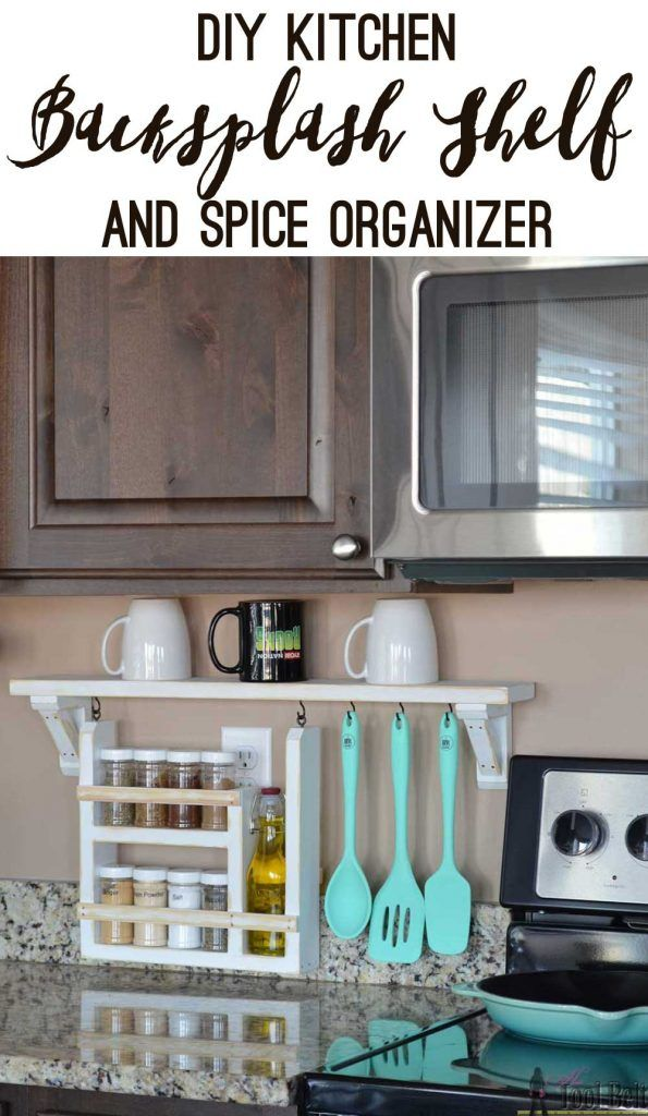 Clear the countertop clutter and have all of your essential kitchen gadgets organized and handy. Free plans and tutorial to build a DIY kitchen backsplash shelf and spice organizer.