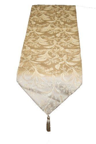 "Luxury Damask Design 13"" X 90"" Table Runner Color: Gold by Violet Linen. $18.99. Table decoration with attractive damask Luxury designs will add a fresh touch any room. Machine Washable, Imported .. Available in beige, gold, or burgundy color options, 100-percent polyester. Update your home decor with this attractive table runner .. Table runner is accented with gold tassels on each end. Luxury 13*90"" Runner 3301-GL-H Color: Gold Features: -Table runner.-Materi..."