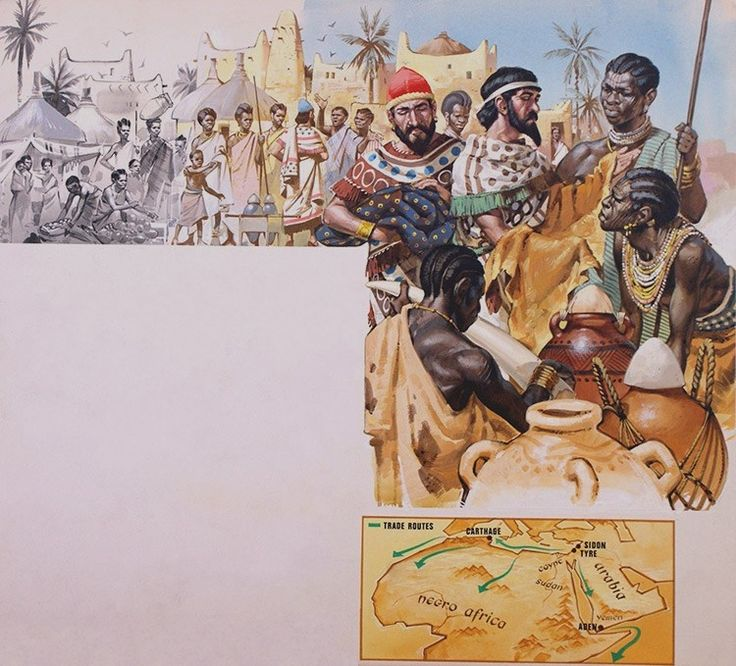 Migrant Peoples and Africa.  Using the old Saharan desert routes, the Phoenicians took wine, olive oil, pottery, linen, wool and cloth and exchanged it for gold, ivory and skins.