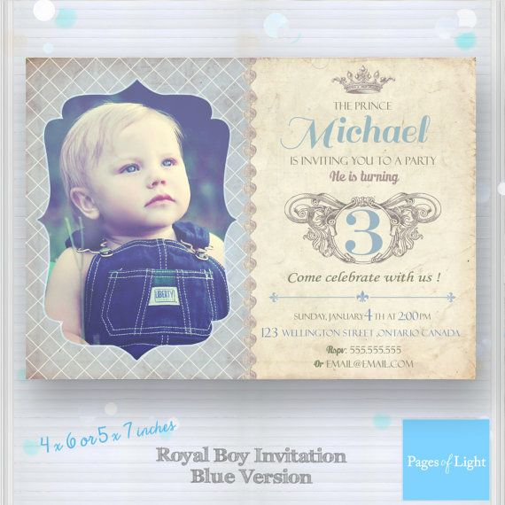 Prince Birthday Invitation Young Princess by PagesOfLight on Etsy