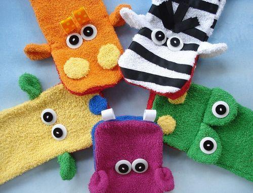 DIY washcloth puppets