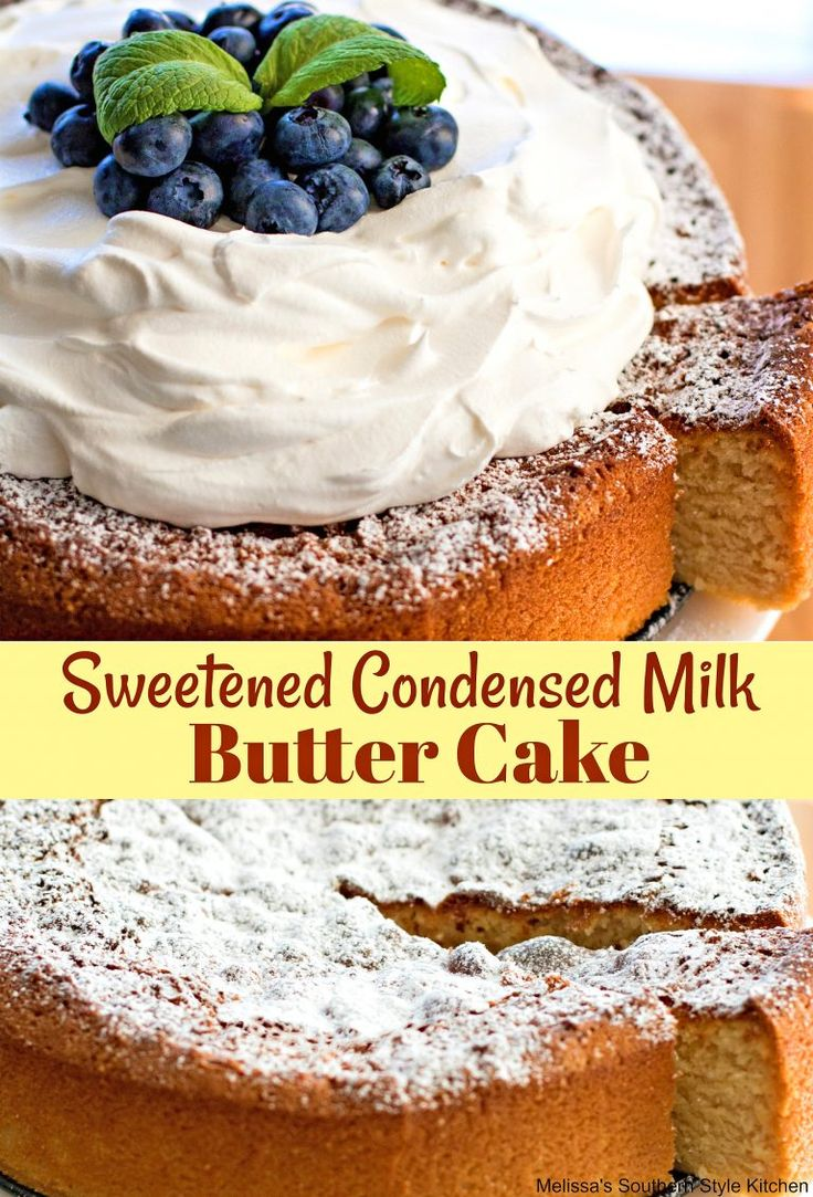 This Sweetened Condensed Milk Butter Cake is my take on a vintage single layer cake that's made using condensed milk. This butter enhanced version was inspired by a local restaurant that serves warm individual size butter cakes drizzled with a seasonal fruit coulis then topped with a scoop of vanilla ice cream.  It's so rich and buttery, it simply has to be shared with a friend as it would be a tragedy to leave a crumb behind.  I make