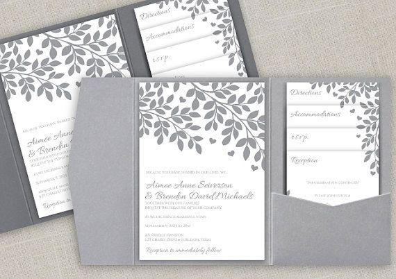 Pocket Wedding Invitation Printable Set  by DiyWeddingTemplates