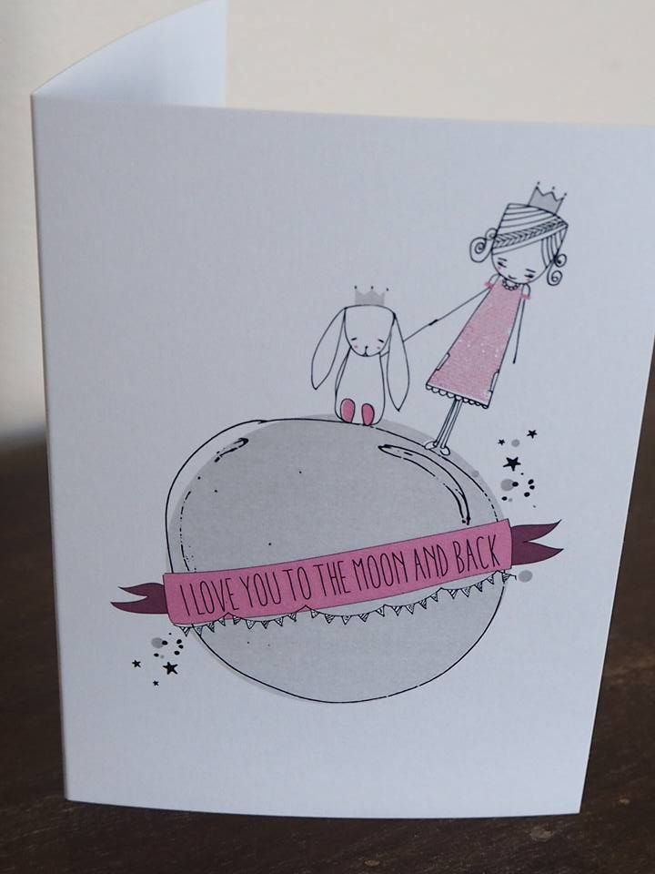"#diggodiggo - 11x15 Greeting card illustration ""i love you to the moon and back"""