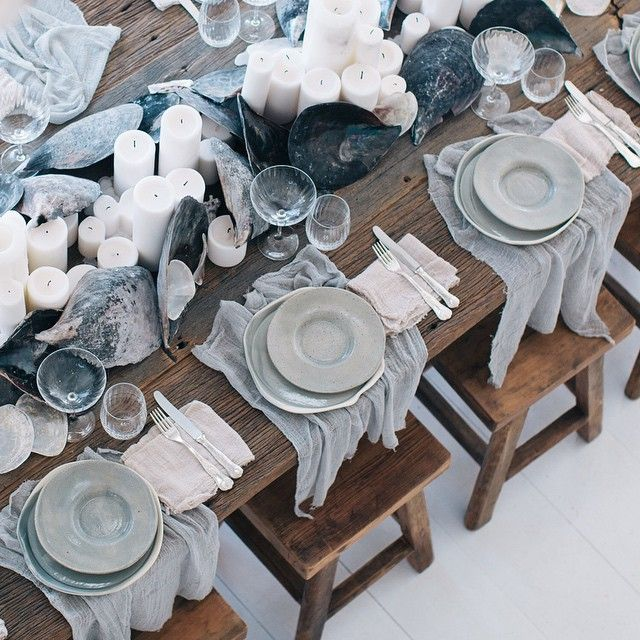 Oceanic details from today's watercolour workshop & lunch with @cassdellerdesign & @aniseeventcatering (Styling by The LANE / handmade ceramic plates by the talented @marloemorganceramics / stools by @brauerbirds_bisqueinteriors / napkins by @silkandwillow) #thelaneworkshops #thelanebrands