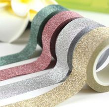 5M DIY Self-adhesive Glitter Washi Paper Tape Sticker Wedding Birthday Festival Decoration Home Decor(China (Mainland))