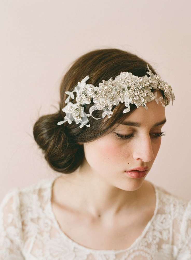 Hand embellished lace headwrap