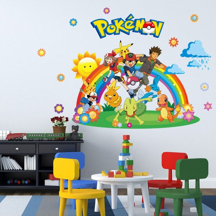 Removable Kids Bedroom Decor 3d Pokemon Wall Stickers Children Room Wall  Decals Home Decor Wallpaper # Part 59