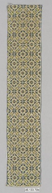 Piece Period: Ming dynasty (1368–1644) Date: 15th–16th century Culture: China Medium: Silk Dimensions: Overall (a): 11 3/4 x 2 1/4 in. (29.8 x 5.7 cm) Overall (b): 12 1/2 x 2 1/4 in. (31.8 x 5.7 cm) Overall (c): 12 1/2 x 2 1/4 in. (31.8 x 5.7 cm) Classification: Textiles-Woven