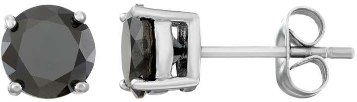Men's Stainless Steel Black Cubic Zirconia Stud Earrings