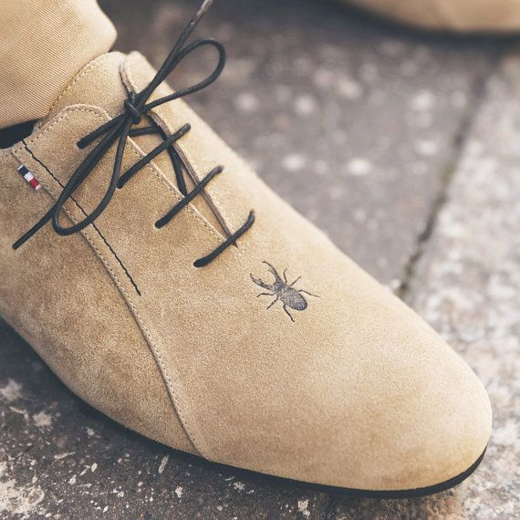 Beige rock men's leather shoes, made in France by hand / City shoes / Casual, smart, trendy, lifestyle, menswear