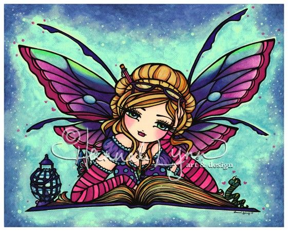 8x10 Bookworm Fairy Fantasy Art Print by Hannah Lynn. $12.00, via Etsy.